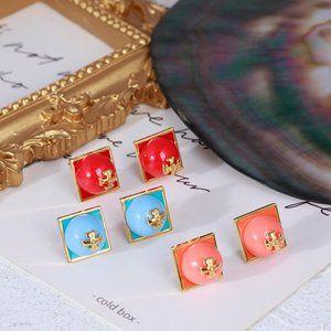 Tory Burch Colorful Enamel Inlaid Pearl Earrings